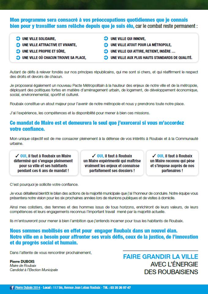 Tract Pierre Dubois 13 janvier 2014
