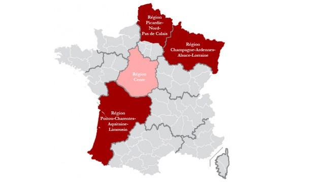 Les régions proposées par les députés PS